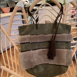 Handbags - Suede and faux furry purse from Anthropologie.